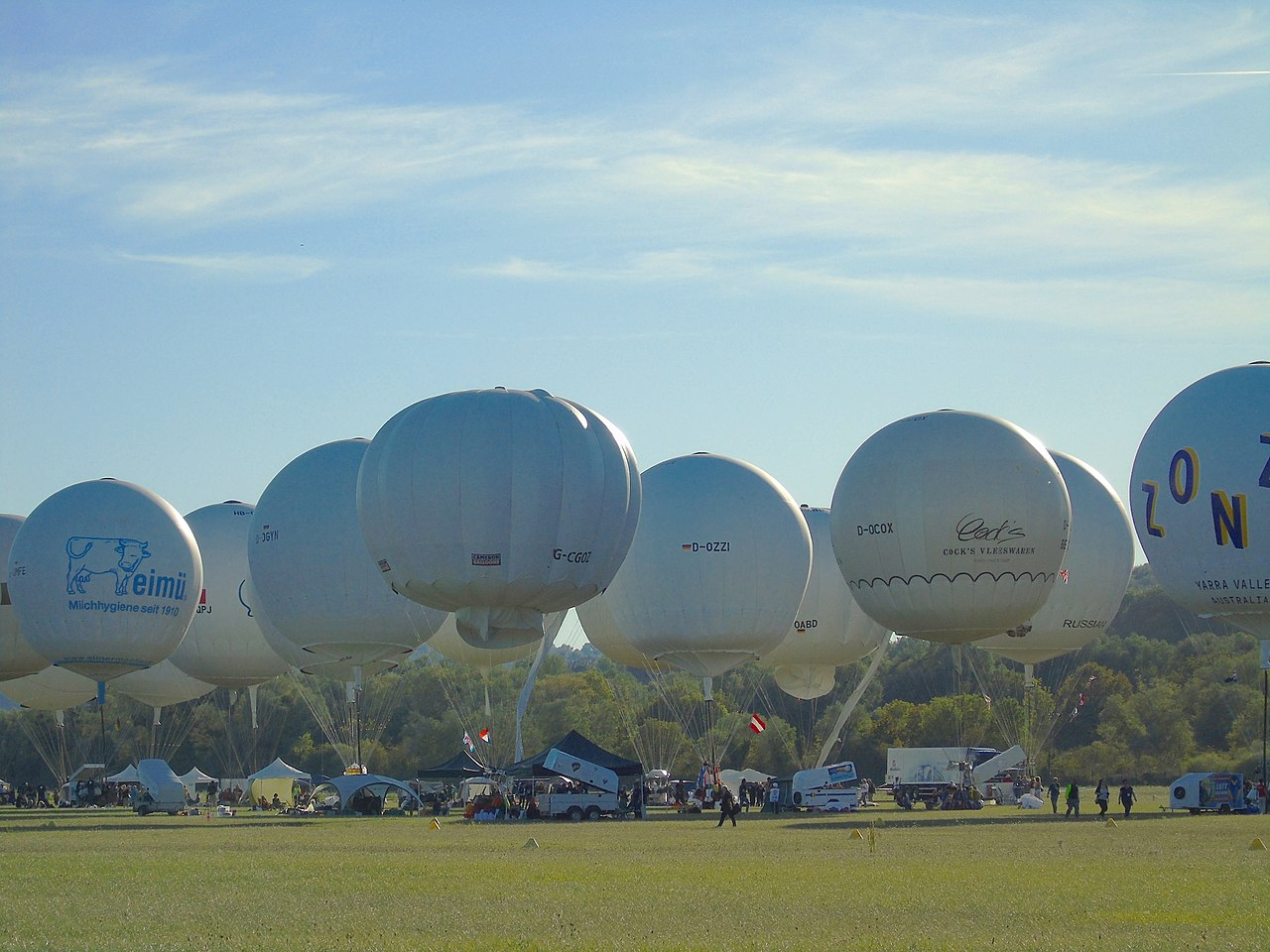 Gas balloons before the start at the Gordon Bennett 2019 in Montbéliard.